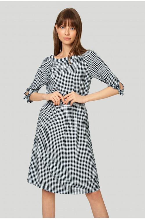 Wiskozowa sukienka w kratkę vichy