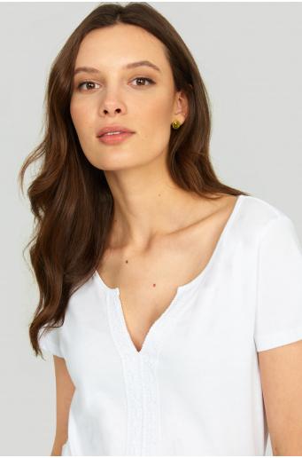 Bawełniany top z ozdobną koronką