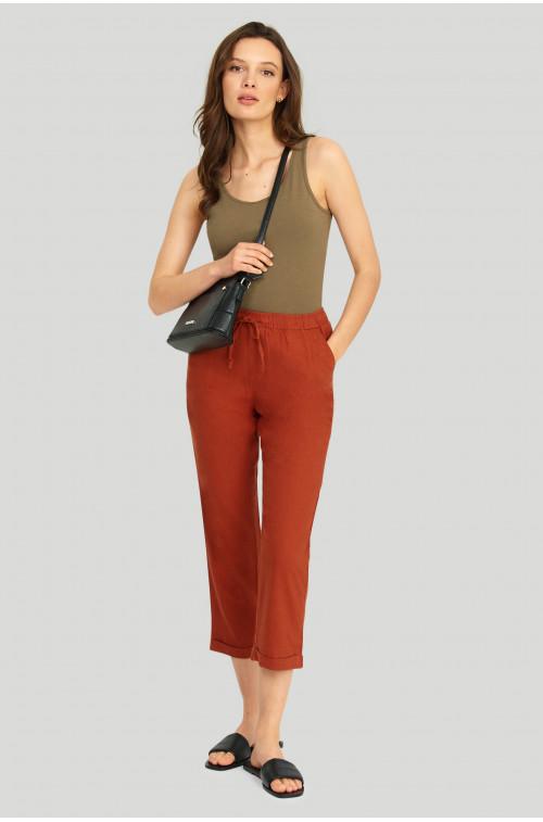 Lniane spodnie z troczkiem