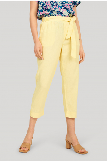 Lniane spodnie z paskiem