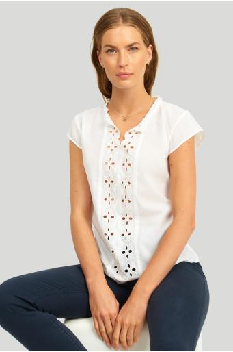 Bawełniana bluzka z koronową wstawką