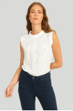 Wiskozowa bluzka z okrągłym dekoltem z riuszką