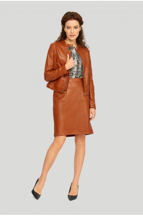 Krótka kurtka z ekologicznej skóry