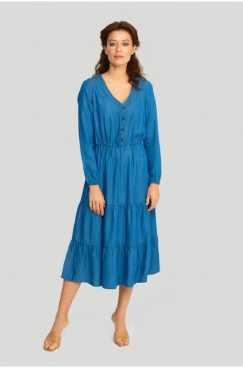 Sukienka z lyocell'u z falbanami