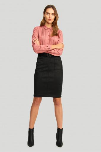 Elegancka, wiskozowa koszula z zakładkami
