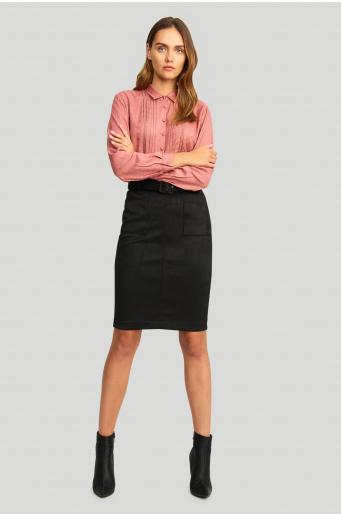 Elegancka, wiskozowa koszula, z zakładkami i ozdobnymi taśmami
