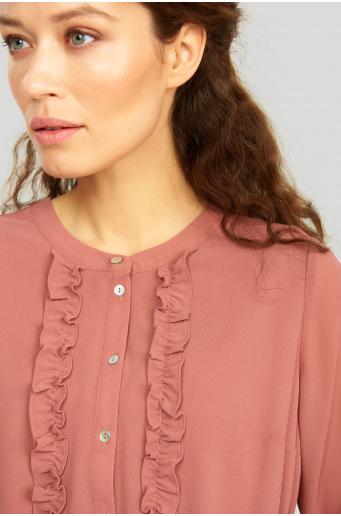 Szyfonowa sukienka z ozdobnymi falbanami