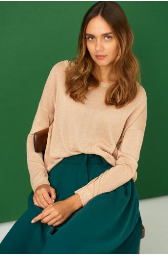 Sweter o luźnym kroju z połyskująca nitką