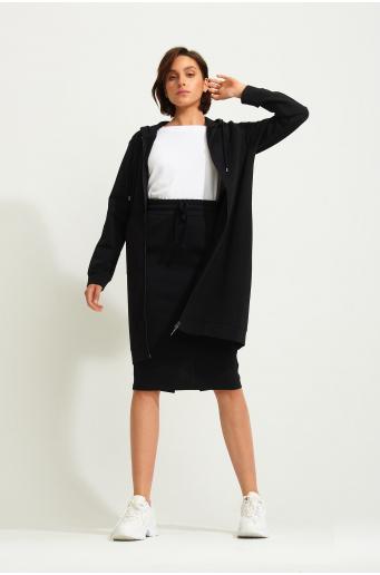 Długa, rozpinana bluza z kapturem