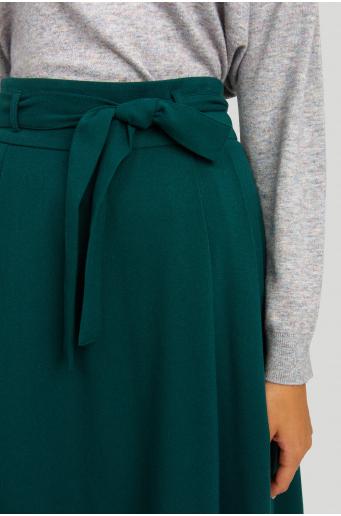 Spódnica rozkloszowana, z paskiem i zakładkami
