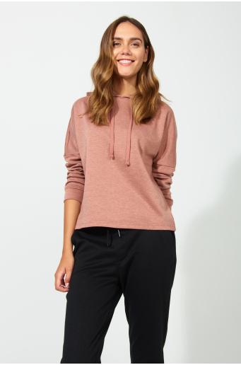 Krótka bluza z kapturem, z dodatkiem włókien ekologicznych