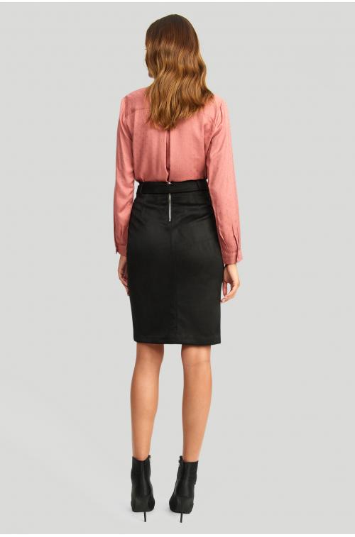 Ołówkowa spódnica, z ekologicznej zamszu