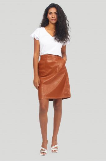 Spódnica z ekologicznej skóry, z gumką w pasie