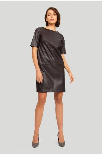 Luźna sukienka z ekologicznej skóry